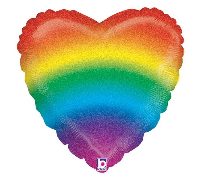 "18""PKG RAINBOW HEART"