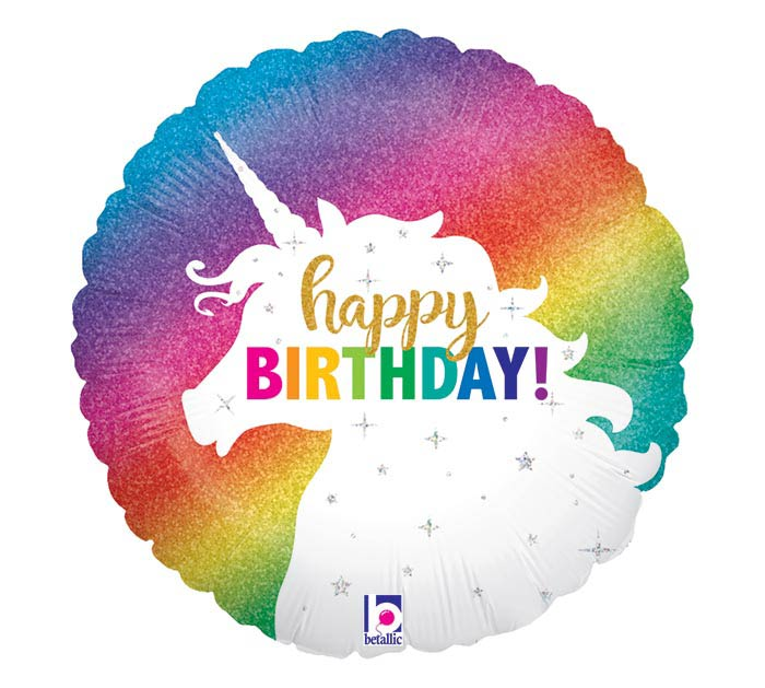"18""PKG GLITTER UNICORN BIRTHDAY"