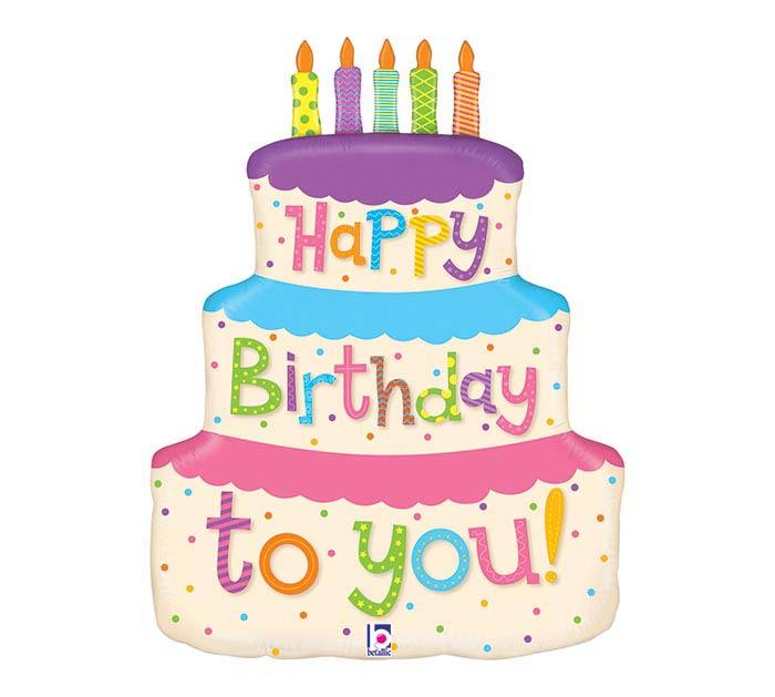"""27""""PKG GIRLY BIRTHDAY CAKE SHAPE"""