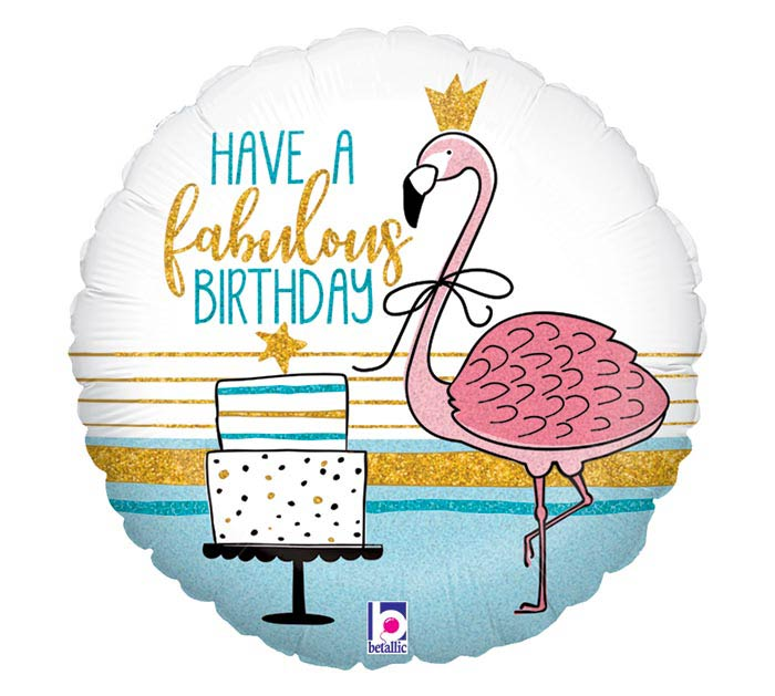"18""PKG FABULOUS FLAMINGO BIRTHDAY"