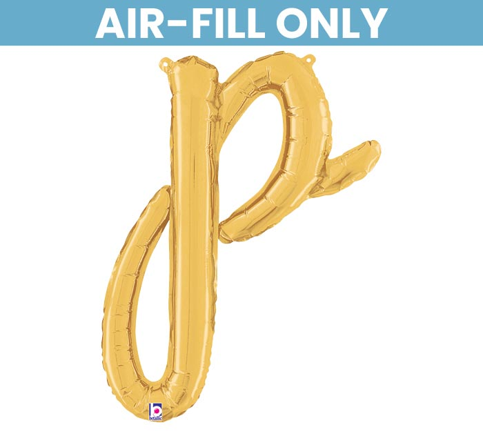 """24"""" PKG GOLD SCRIPT LETTER P"""