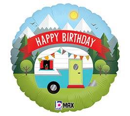 """18""""PKG HAPPY BIRTHDAY CAMPER"""