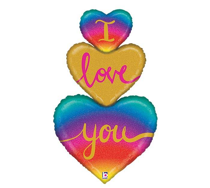 "40""PKG RAINBOW HEART LOVE TRIO GLITTER"