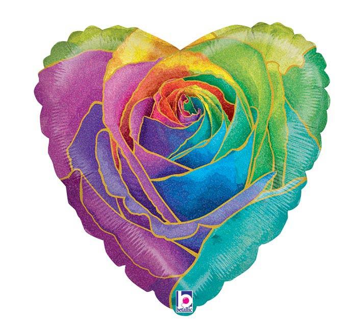 """18""""PKG RAINBOW ROSE HEART GLITTER HOLOGR"""