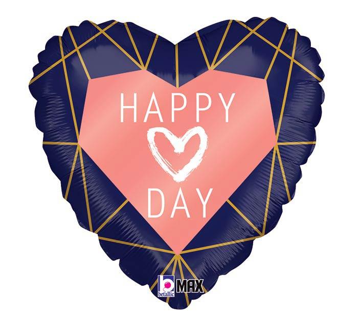 """18"""" GEO NAVY HEART HAPPY HEART DAY"""