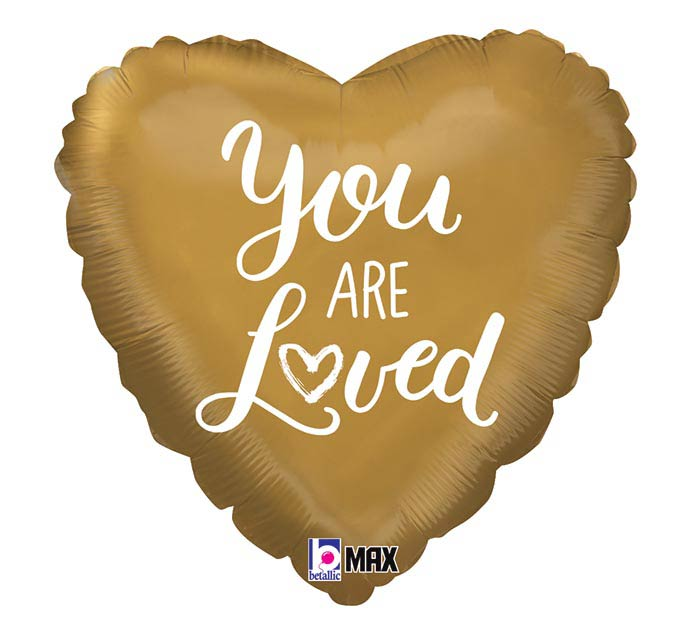 "18""PKG YOU ARE LOVED GOLD HEART"