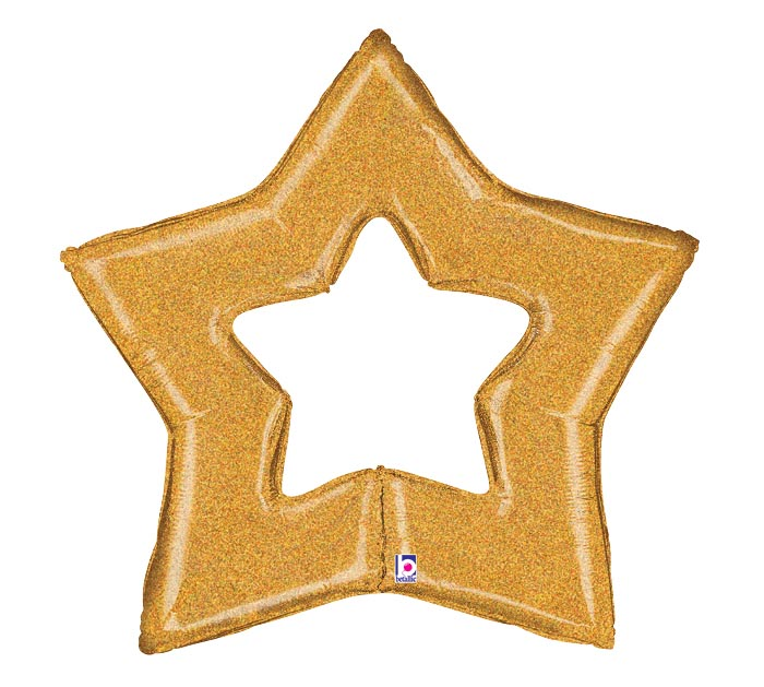 "48""PKG GLITTER GOLD STAR SHAPE"