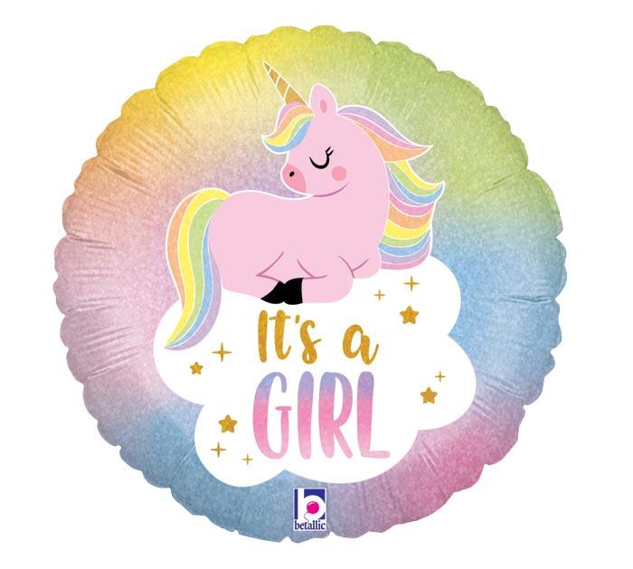 """18""""PKG GLITTER PASTEL UNICORN BABY GIRL"""