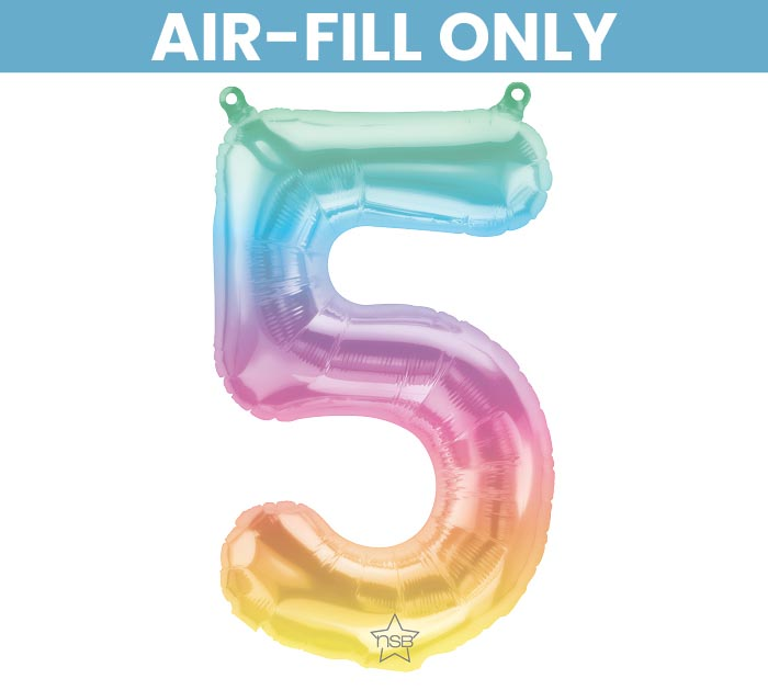 "16"" FLAT NUMBER FIVE JELLI OMBRE BALLOON"