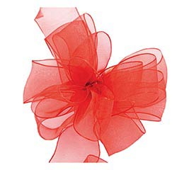 #9 SHEER RED WIRED RIBBON