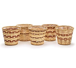 "6"" LINED BAMBOO BASKET POT COVER"