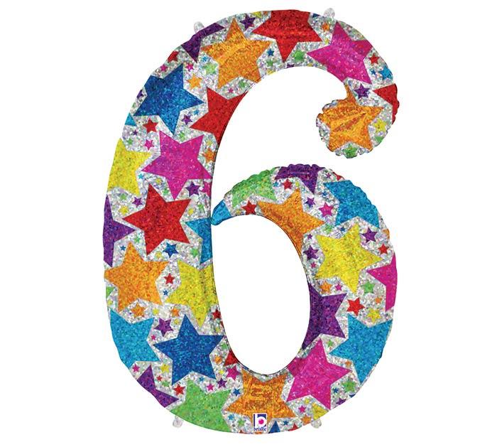 "36"" PKG HOLOGRPAHIC WITH STARS 6 SHAPE"