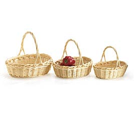 NATURAL WILLOW BASKET SET WITH HANDLES