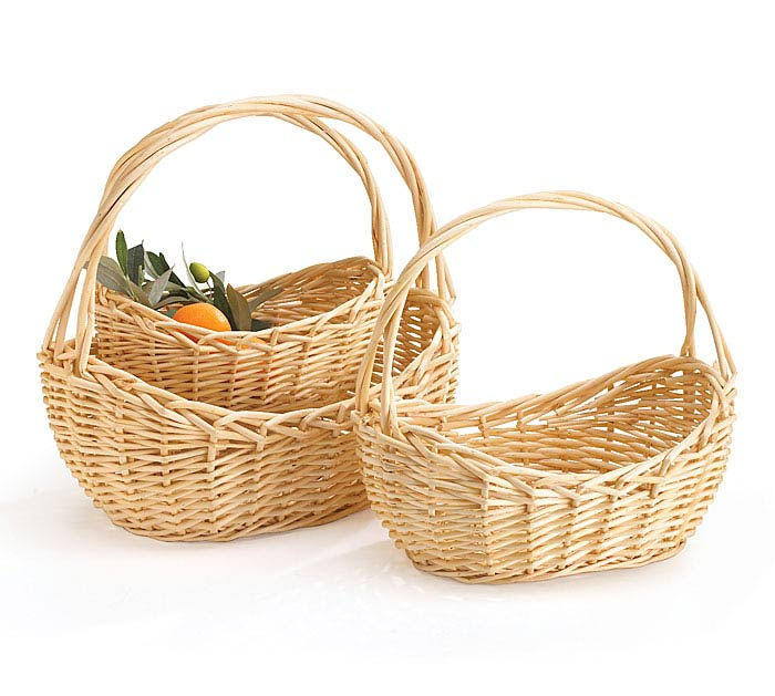 NATURAL WILLOW BOAT SHAPED BASKET SET