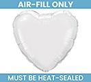 "9""FLAT SOLID WHITE HEART SHAPE"