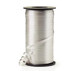 CRIMPED SILVER CURLING RIBBON