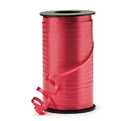 CRIMPED BRIGHT RED CURLING RIBBON