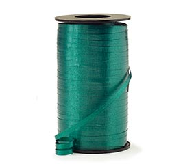 CRIMPED HUNTER GREEN CURLING RIBBON