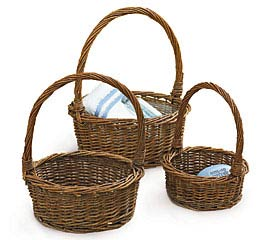 DARK STAIN UNPEELED WILLOW BASKET SET