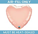 "9""FLAT ROSE GOLD HEART AIR FILL ONLY"