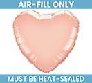 "9""FLAT ROSE GOLD HEART AIR FILL ONLY"