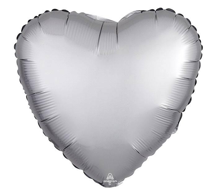 "17""SOL SATIN LUXE PLATINUM HEART"