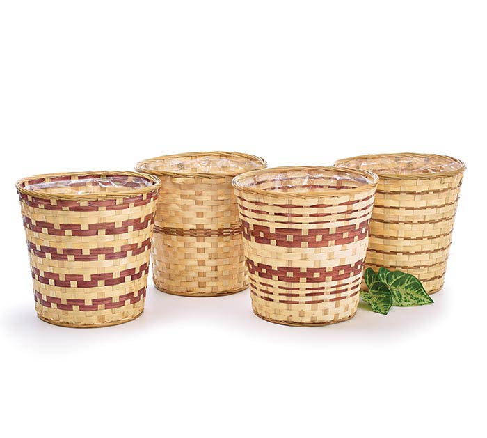 "12"" LINED BAMBOO BASKET POT COVER"