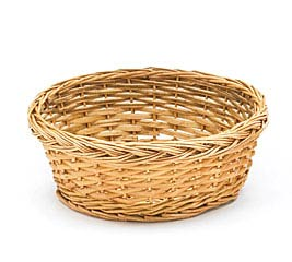 "9"" LIGHT STAIN ROUND WILLOW BASKET"