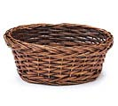 "9"" DARK STAIN ROUND WILLOW BASKET"