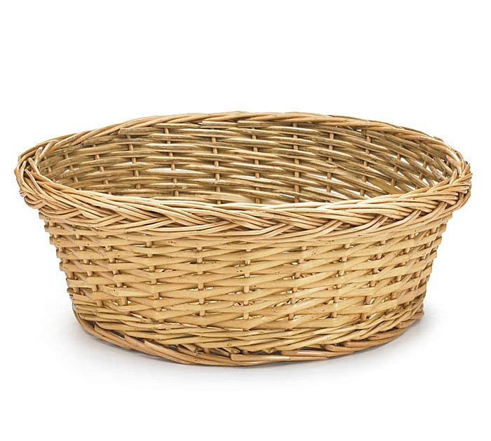 "12"" LIGHT STAIN ROUND WILLOW BASKET"