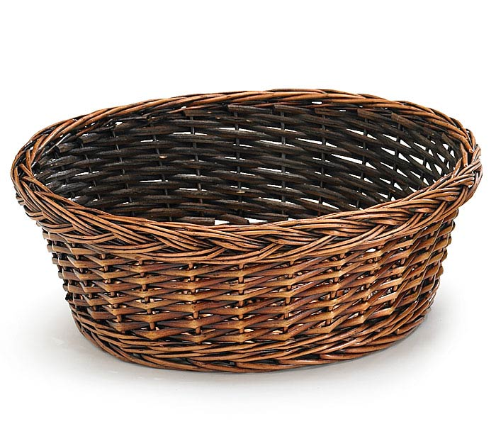 "12"" DARK STAIN ROUND WILLOW BASKET"