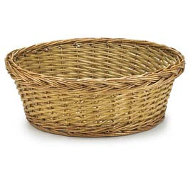 "14"" DARK STAIN ROUND WILLOW BASKET"