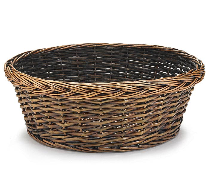 "14"" DARK STAIND ROUND WILLOW BASKET"