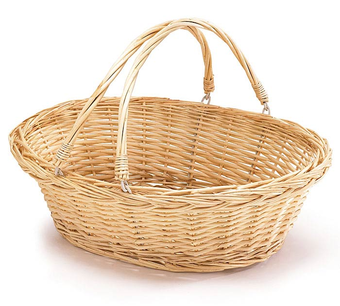 NATURAL WILLOW BASKET W/ FOLDING HANDLES