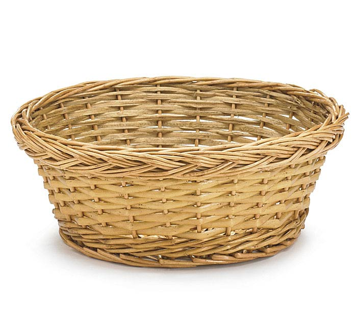 10: LIGHT STAIND ROUND WILLOW BASKET