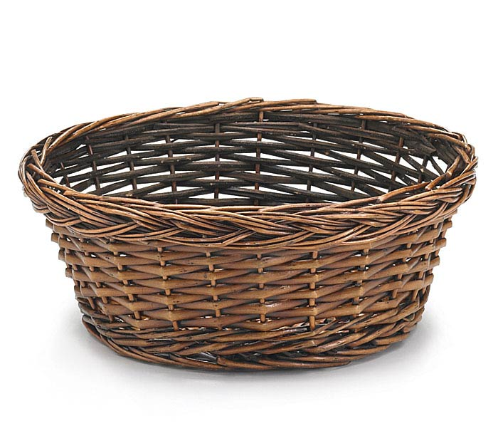 "10"" DARK STAIND ROUND WILLOW BASKET"