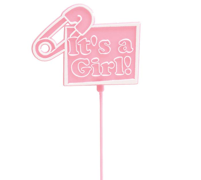 IT'S A GIRL PINK PLASTIC PICK