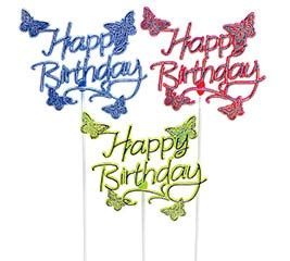 HAPPY BIRTHDAY BUTTERFLY PLASTIC PICK SE