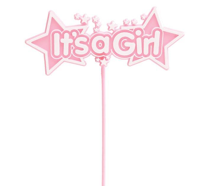 IT'S A GIRL PINK STARS PLASTIC PICK