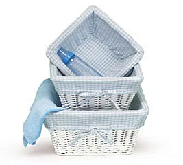 3 PIECE WHITE WICKER BOY BASKET SET