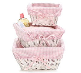3 PIECE WHITE WICKER GIRL BASKET SET