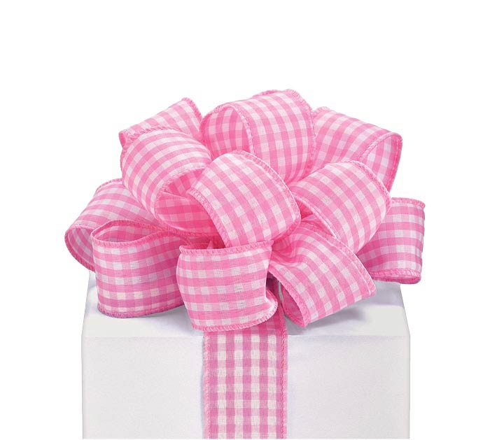 #9 PINK GINGHAM WIRED RIBBON