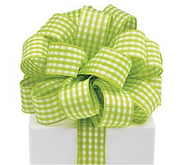 #9 LIME GINGHAM WIRED RIBBON