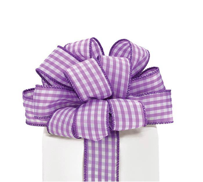 #9 PURPLE GINGHAM WIRED RIBBON