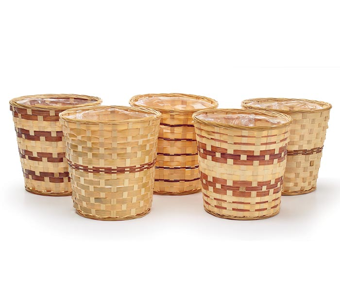 """9.25"""" ASSORTED BAMBOO POTCOVER SET"""