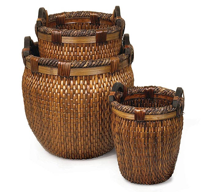 TALL WILLOW BASKET SET WITH HANDLES