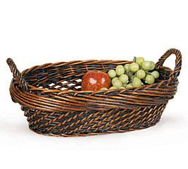 DARK STAIN OVAL WILLOW BASKET W/ HANDLES
