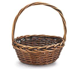 "10"" DARK STAIN WILLOW BASKET WITH HANDLE"