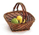 DARK SQUARE WILLOW BASKET FOLDING HANDLE