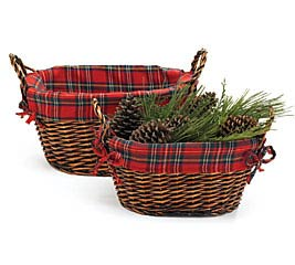 OVAL WILLOW BASKET SET WITH PLAID LINER